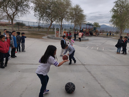 Sea View Kindergarten playing with new basketballs