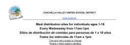 Meal distribution sites for all CVUSD students