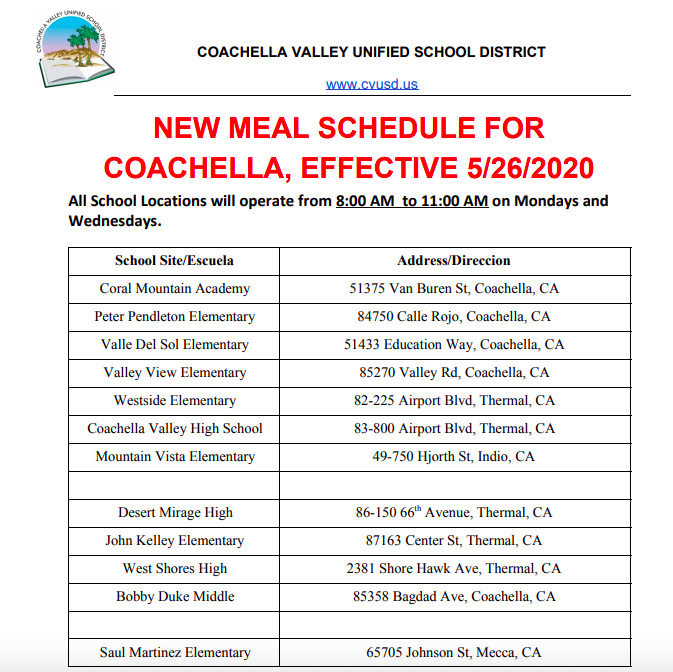 New Meal Schedule 5-26-2020