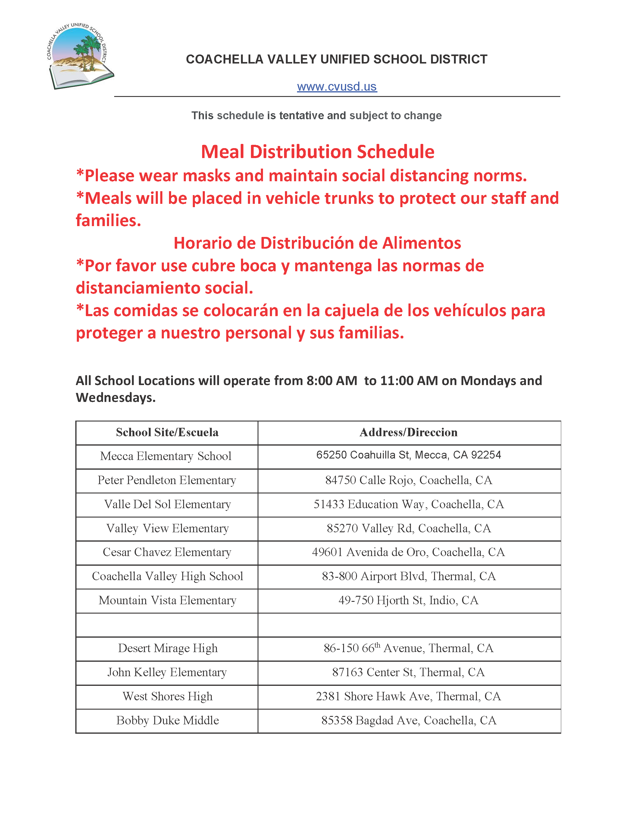 Meal Distribution Schedule June 6 2020